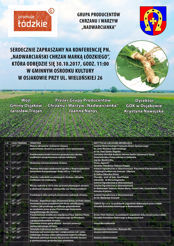 """2017 10 19 konferencja - Konferencja """"Nadwarciański chrzan marką łódzkiego"""""""
