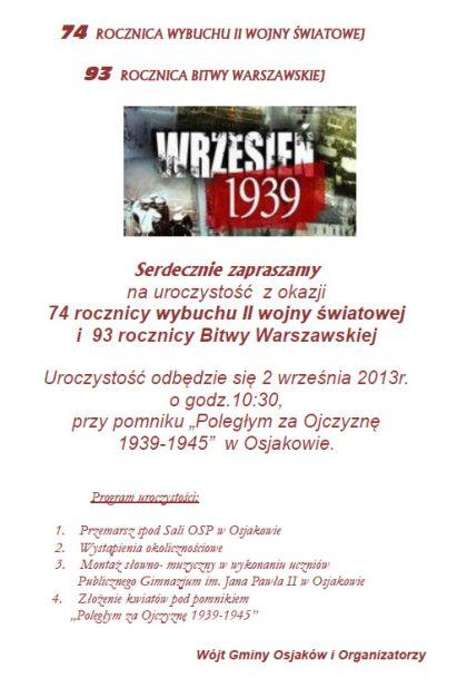 Uroczystość z okazji rocznic wybuchu II wojny światowej i bitwy warszawskiej