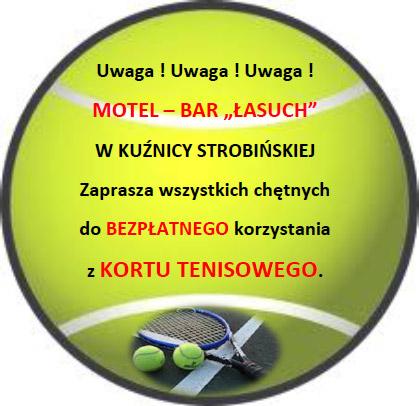 Kort tenisowy przy barze Łasuch w Kuźnicy Strobińskiej